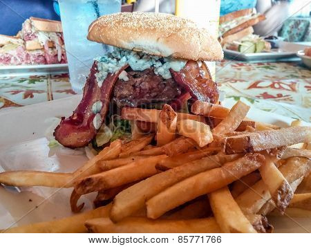 French Fries And Bacon Blue Cheese Burger