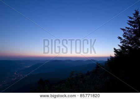 Vosges landscape on sunrise, France