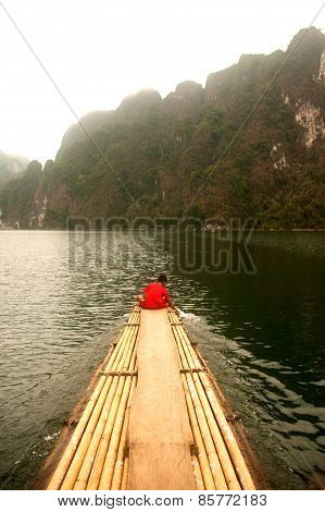 Bamboo Raft On The Cheow Larn Lake In Ratchaprapa Dam,Thailand.