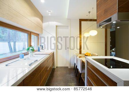 Wooden Cupboards In Beauty Kitchen