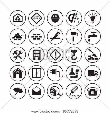 Flat building icons