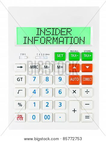 Calculator With Insider Information