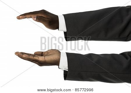 African Descent Businessman With Palms Facing Up And Down