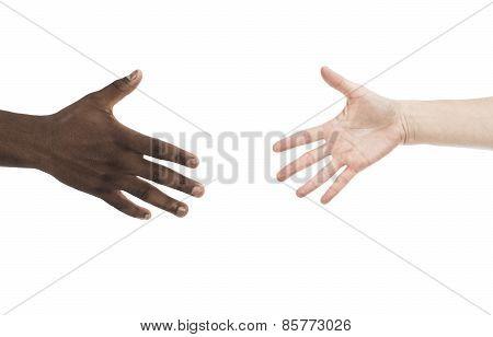 African And Caucasian Open Hands