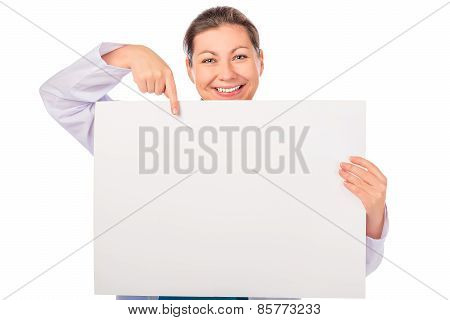Smiling Doctor Pointing To Empty Blank Poster