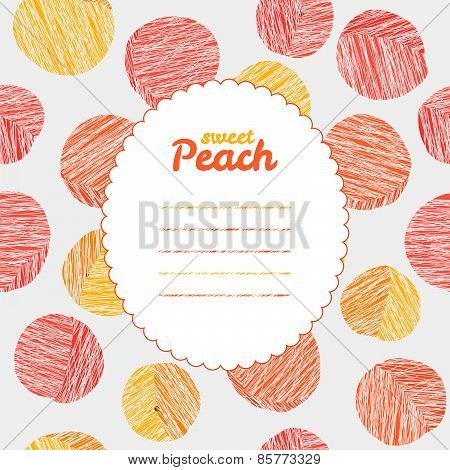 Endless peach texture, repeating fruit background. Text frame. Autumn harvest backdrop.