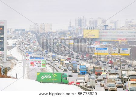 Moscow, Russia - February 20, 2015: traffic jam on a highway in winter at the Moscow Automobile Ring Road (MKAD) district Tushino
