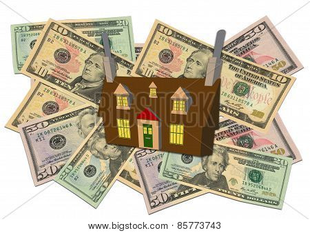 Cottage On Pile Of Money
