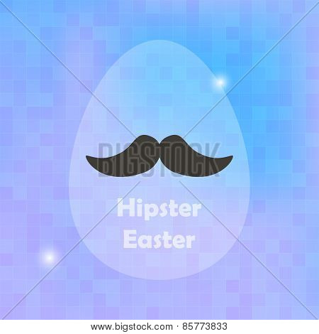 Hipster Easter Greeting Card With Egg And Blured Background
