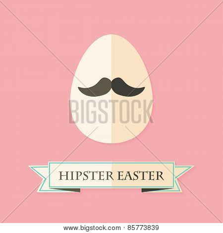 Hipster Easter Greeting Card With Egg With Mustache