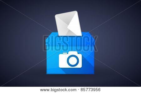 Blue Ballot Box With A Photo Camera