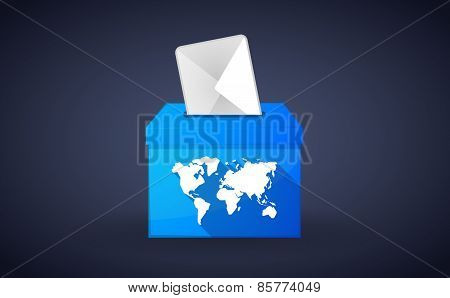 Blue Ballot Box With A World Map