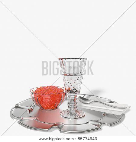 Shot Glass of Vodka with Caviar