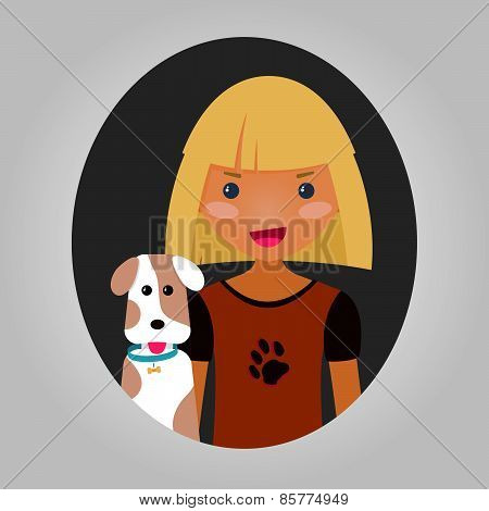 Dog lover character. Vector personage for site or application.