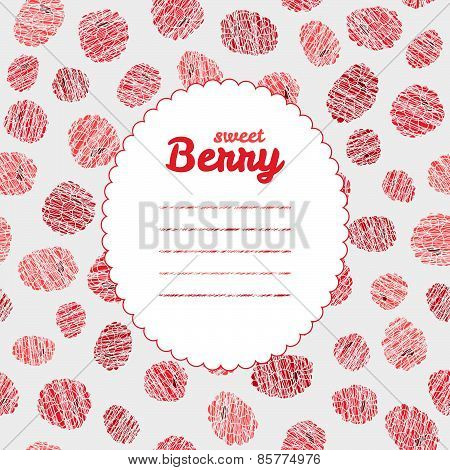 Text frame. Seamless rapsberry background, endless fruit texture. Summer berry backdrop.