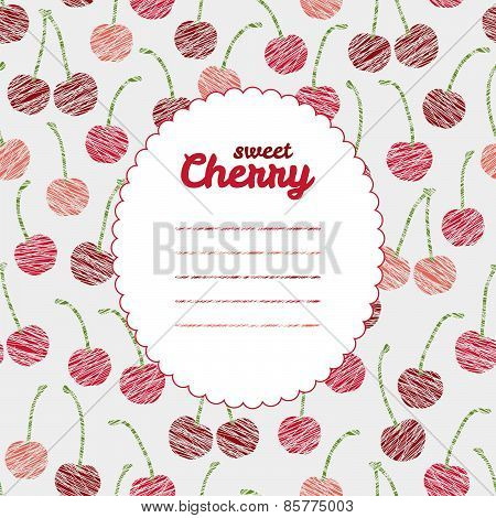 Text frame. Endless berry texture, repeating cherry background. Summer harvest backdrop.