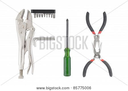 Word Fix Made Of Many Tools Isolated On White Background