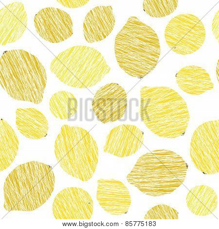 Seamless lemon texture. Endless citrus background. Harvest fruit ornament. Vector.