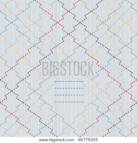 Text frame. Traditional Japanese Embroidery Ornament. Pine bark motif. Seamless vector.