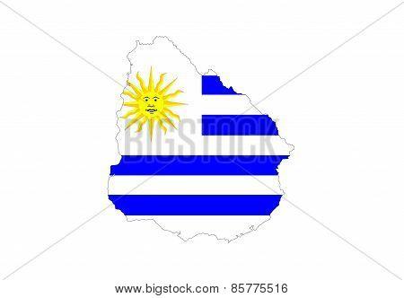 Uruguay Flag Map