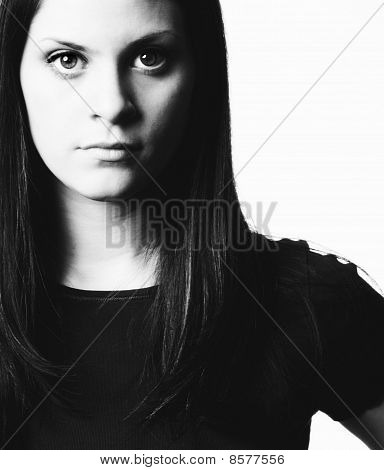 Portrait Of A Strong Woman In Black And White.