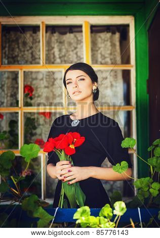 Romantic Portrait Of The Brunette