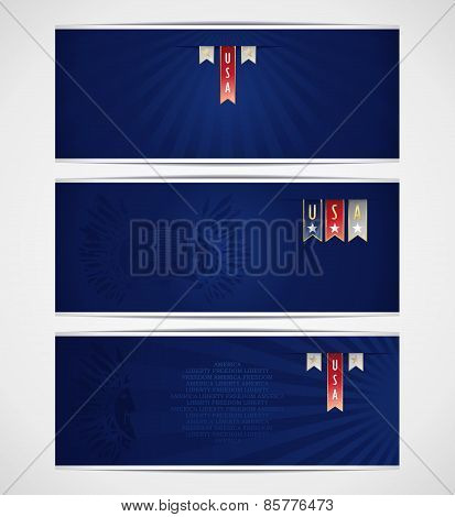Set of blue banners