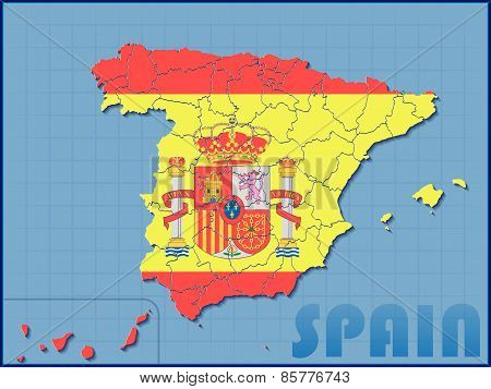 Spain Map with Flag Background