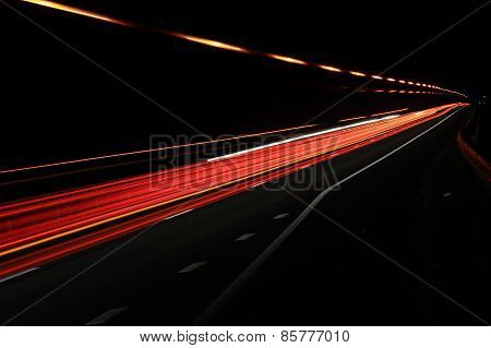 Colored Bands Of Light On The Road