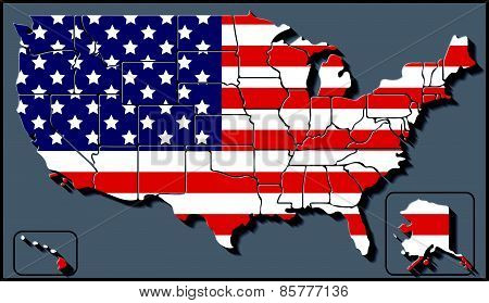 USA Map with Flag Background