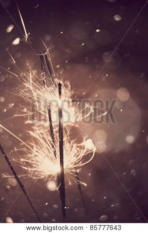 Sparkler And Snow
