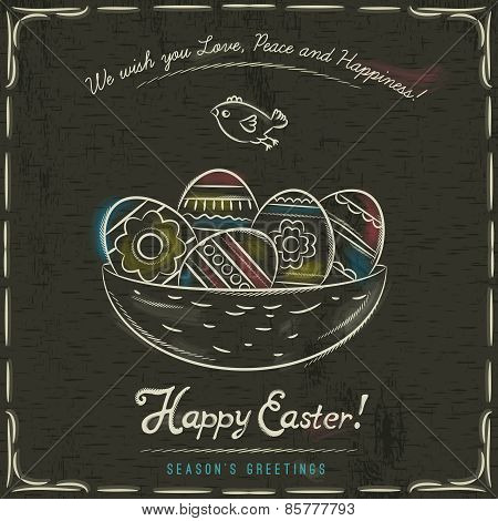 Brown Background With Nest Full Of Easter Eggs, Inscription With Text Happy Easter And One Bird.
