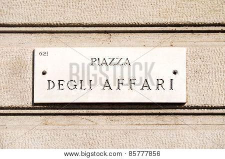 Marble urban ensign for Italian Stock Market Borsa Italiana