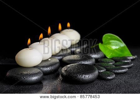 Spa Concept Of Row White Candles And Green Leaf  Calla Lily On Black Zen Stones Background With Dew,