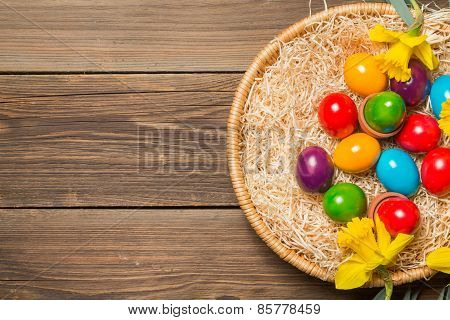 Easter Nest With Eggs And Flowers