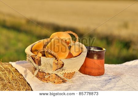 organic breakfast concept with milk and bread