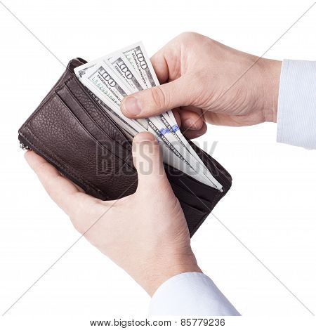 Taking Money From Wallet - Stock Image