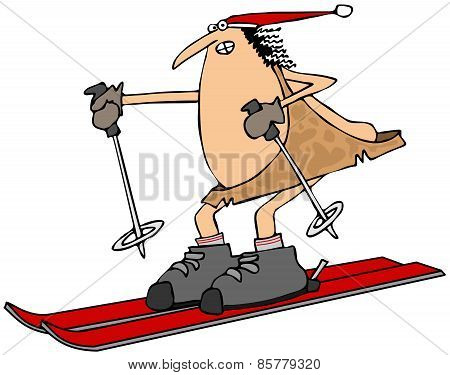 Caveman on skis