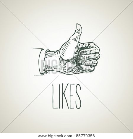 Hand-drawn symbol thumb like. Vector illustration