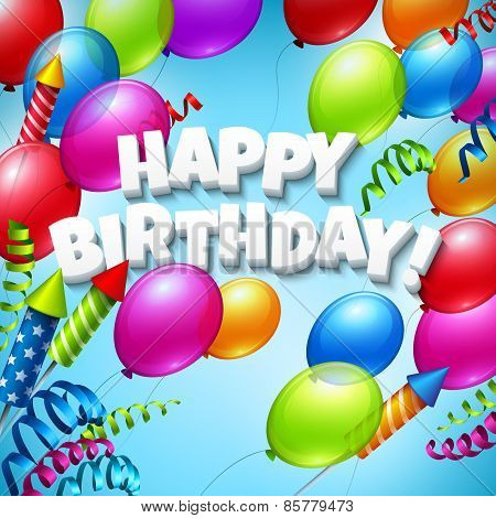 Happy birthday greeting card with  balloons. Vector illustration