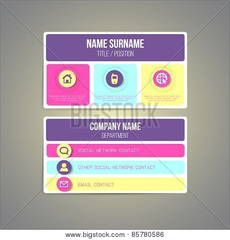 Business card template made in bright funky colorful design. Vector illustration