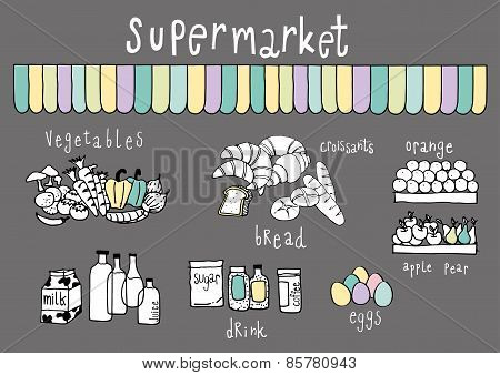 Supermarket Doodle Dark Grey Background
