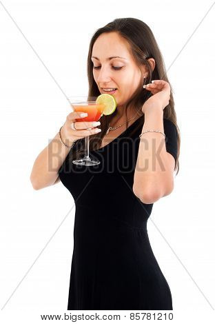 Woman Drinking Tropical Drink