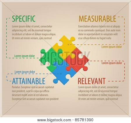Four Colourful Puzzle Pieces. Business infographic