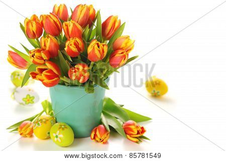 Bouquet of tulips and eggs for Easter