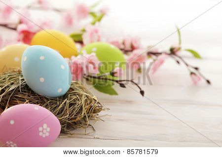 Pink flowers and eggs for Easter