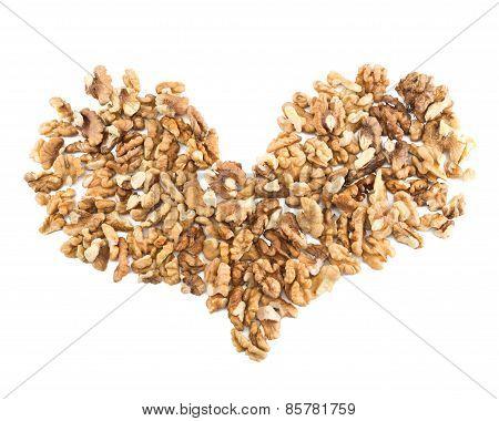 Heart shape made of walnuts