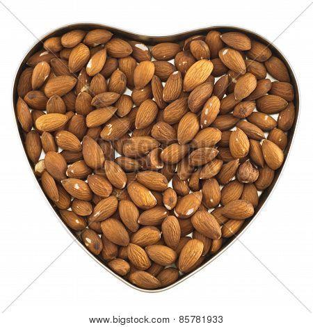 Heart shaped box full of almonds