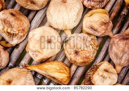 Many Figs Are Dried In Traditional Procedure With A Fly On Top