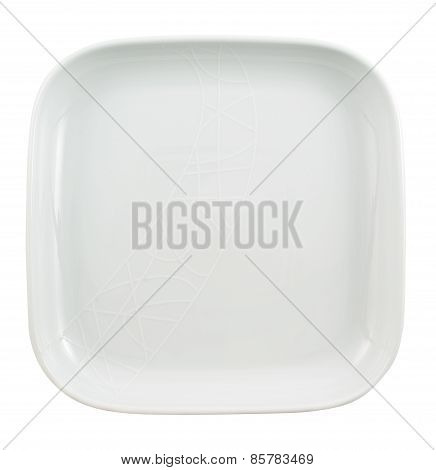 Square shaped empty ceramic plate